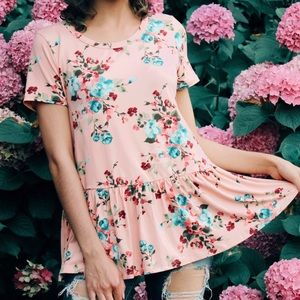 ⭐️Floral Blossom Peplum Top in Blush⭐️